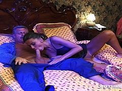 Grey haired old dude fingers and licks warm and sweet cunt of this sexy slut. He makes it awesome! She goes nuts about it! And gives him extremely sweet cock sucking. Have a look at this sucking in private sex clip!