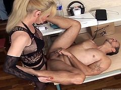 Watch this guy and tranny sucking and fucking each other on this hot scene where you'll see them having such a great time.