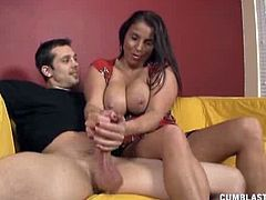 Cum Blast City brings you an exciting free porn video where you can see how the busty brunette milf Stacie Starr plays with a cock while assuming very hot poses.