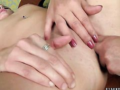 Blonde Gina Red and White Angel satisfy their sexual needs together in girl-on-girl action