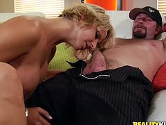 Short-haired MILF blows a cock with pleasure. Then a guy licks Brianna's vagina and then fucks her from behind.