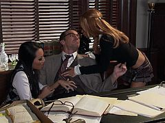 Asa Akira and Kirsten Price are two hotties in school uniform. They seduce the principal. Horny girls give double blowjob and then get banged on a table.