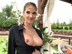 Take a look at this great POV scene where the slutty sucks and fucks a big cock outdoors after sucking on a toy.