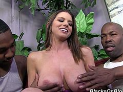 Brooklyn Chase was going to fuck two black guys at the same time, but before the scenes started she treated them a nice handjob.