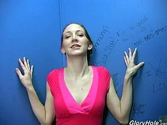 Skinny chick takes clothes off and gives a hajndjob to Black guy in glory hole show. Of course she also sucks that dick. In addition she gets her mouth filled with big load of cum.