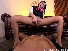 Japanese sex slave only cares about showing off her pussy for the camera and pleasing her stud with her feet and hands and mouth!