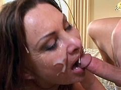 After having sex with her step son, needy mature goes for the cum load