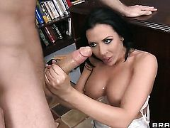 Rachel Starr with giant boobs gets her mouth destroyed by hard love stick of James Deen