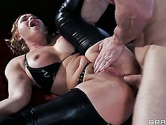 Johnny Sins makes his rock solid pole disappear in glamorous Krissy Lynns back porch
