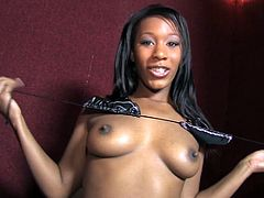Get excited watching this ebony babe, with natural tits wearing black panties, while she dances and takes her clothes off before serving a blowjob.