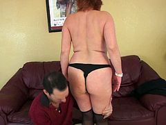 This mature woman is sick and tired of her neighbor's excuses. Every time she wants to taste his married cock he tells her that he's busy. This time she isn't taking no for an answer. She gets half naked and makes him worship her yummy titties.