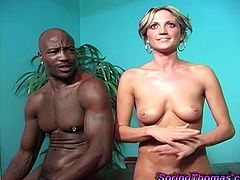 Amazing blonde babe with hot ass and nice body gives great blowjob to this big black cock and gets her wet and shaved pussy fucked hard later.