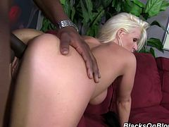 This MILF wanted something a little different so when she met this black guy she took him home and impaled herself on his fat rod.