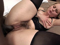 Impressive babe in black lingerie gets her tight pussy ravaged by a black stud