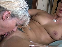 Hot lesbian sex with mature woman, hot brunette and their rubber mate