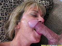 Slutty blonde milf Chayanne shows what a bitch she really is. She gives a blowjob to some horny dude and then lets him fuck her shaved cunt in all known positions.