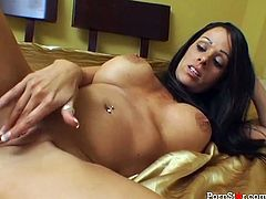 This sizzling hot brunette knows a lot about pleasing men. She sucks her client's rigid cock with unrestrained passion pushing him to the edge of powerful orgasm.