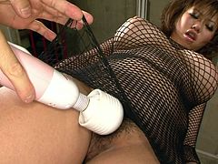 Full bodied Japanese wench Neiro Suzuka in fishnet dress is toy fucked