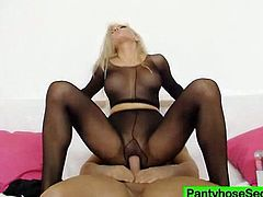 Astonishing Nicky Angel is making her man horny and hard with this pantyhose. She ripped it and sit on his hard cock and ridding it hard.