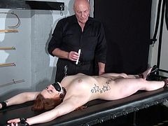 Learner bondman Louise inside dungeon rack bound and Dirty wax knocker punishments of Overweight private submissive