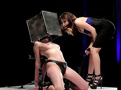 Sexy babes are in great need to stimulate their wet vags in a rough BDSM porn show