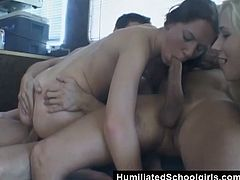 These two girls hooked up with a couple of guys, got in their van, and ended up giving head, getting fucked hard, and swallowing cum.