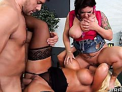 Ramon buries his erect snake in irresistibly hot Claire Dames  Alura Jensons pussy hole