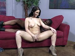 She is so fucking naughty and luscious! Honey gets down on that huge black cock and wanks it, while somebody talks to her.