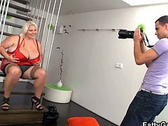 This blonde bbw was a former model and had a fetish for younger photographers for her whole life. Watch her sucking his schlong before getting her fat cunt nailed.