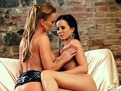 Check out this hot lesbian scene where these two horny and very beautiful ladies please each other in front of the camera.
