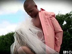Maria looks smoking hot in her white lingerie and bridal veil. Busty hun gets fucked by her man David outdoors. Maria gives terrific blowjob, gets her cooch fucked doggystyle and rides that massive cock on top. Later David cums on Maria's big hooters.