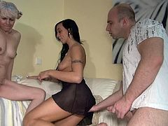 At first, they paw each others. They give him adorable blowjob. Then he fucks this brunette babe when this chick lick twat of this mature in steamy Old Nanny FFM sex!