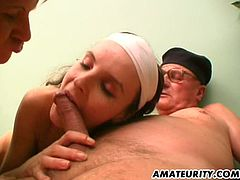 It's a threesome he won't soon forget as this older guy fucks a sexy mature woman and hot younger chick at the same time.