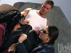 Magnificent Nikita Denise and Stephanie Swift give a double blowjob to a guy near a car. Then these hotties get banged and also facialed.