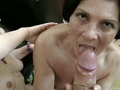 Short haired slutty old filthy hussies with saggy Tatas got their dirty smelly eating holes energetically pounded deep throat by long schlong. Watch this dirty orgy fuck in Fame Digital porn clip!