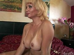 Bosomy blond haired milf sucks long dick of her brutal dawg