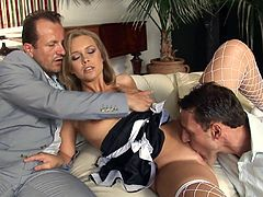 Watch staggering threesome with blonde that screams of pleasure