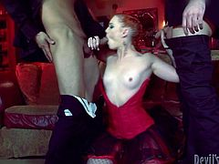 Have fun with this hardcore scene where the slutty blonde Dani Jensen is fucked by two guys in a hot threesome.