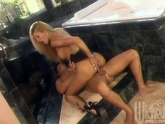 Jessica Drake is Back Blowing this Muscle Stud in the Kitchen!