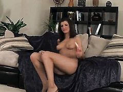 Italia Christie with smooth snatch does striptease before she sticks dildo in her bum