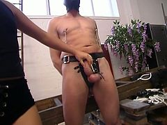 Sexy girls found a slave tied to a camping trailer. He has a black leather mask on face and belt on his cock.