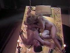 This is a cosplay scene featuring torrid blonde hottie. She gets her coochie polished by handsome guy. Then she gives him head and fucks missionary style. Exciting retro porn video.