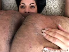 This hot chick does a fat guy the favor of his life as she sucks his cock until he explodes and shoots his load into her warm mouth.