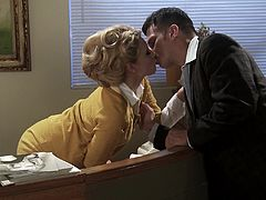 She was called in his office and while he was talking about work, her mind was in his pants! Katie Summers knows how to seduce and she gets his cock by any means!