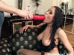 Giant tits brunette drilled hard by massive toy and throbbing cock. Super hot Russian MILF Isabella in stockings is ready to give you the horny show that is worthy of your time and money.