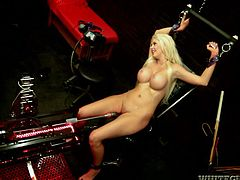 Make fun jerking off to this hot scene where the busty blonde Courtney Taylor cums over and over as she's masturbated and fucked by machines.