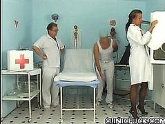 Doctor Spreading her Eager Pussy