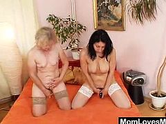 After a hot 69 these two grandmas break out the toys and work their elderly pussies until they are shaking with pleasure as they cum.