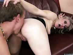 Blonde jerks cum loaded man meat like a pro before guy shoots his load