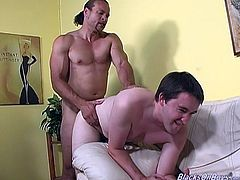 So, here is how this gay scene is going to take place! Two homos seduces that faggot and stick their huge cocks right in his asshole! Damn, he is in love with them now!